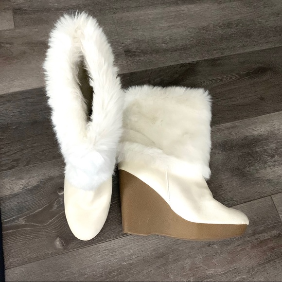 Jennifer Lopez Shoes Faux Fur Wedge Boots Poshmark